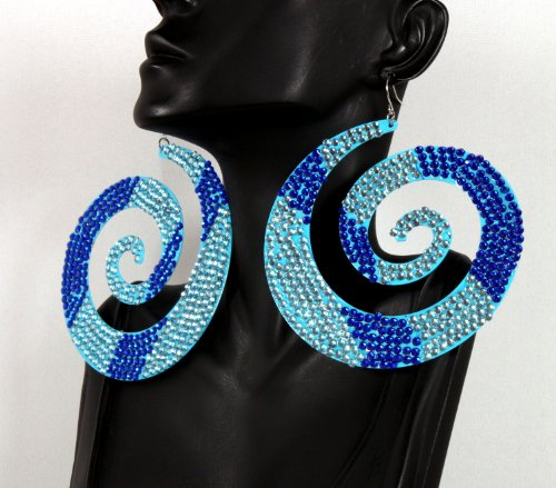 Basketball Wives Blue Two Tone Spiral 4 Inch Drop Style Earrings Iced Out Mob Poparazzi