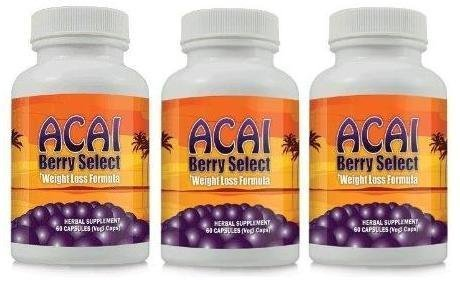 Acai Berry Select Natural Acai Berry Weight Loss Formula - Lose Weight and Burn Belly Fat with Acai Berry Diet Supplement ~ 3 Bottles