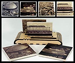 Set of 4 Vintage Pittsburgh Stadiums Drink Coasters and 1 Wooden 4 Coaster Holder