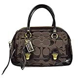 Coach Signature Poppy Pushlock Satchel Bag Tote 18356 Mahogany Brown