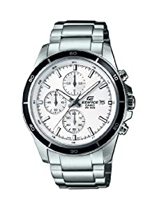 Casio Edifice Men's Quartz Watch with White Dial Analogue Display and Silver Stainless Steel Bracelet EFR-526D-7AVUEF