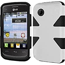 buy Vmg +Eb For Lg 306G 3G Tracfone Cell Phone Tough Rugged Urban Dual-Tone Premium Hybrid Hard Soft Protective Case Cover - Black/White + Free Black Earbud (Ear Bud) Gift
