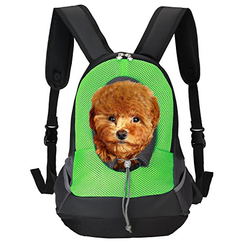 Pet Carrier, Itery Back Front Pack Dog Cat Travel Bag Pet Mesh Backpack Head out Design Padded Adjustable Shoulder Strap (Green)