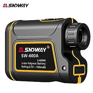 600m レーザー距離計 防水防塵 光学7倍 USB充電 高低差・水平距離・角度測定機能付