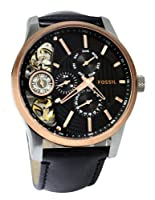 Fossil Men's ME1099 Black Leather Strap Textured Black Cutaway Analog Dial Chronograph Watch from Fossil