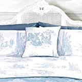 French Country Inspired Toile De Jouy Cushion Cover with Printed Illustrations Blue 18x18