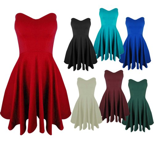 Womens Ladies Padded Boobtube Pleated Flared Bodycon Party Skater Dress Top 8-14