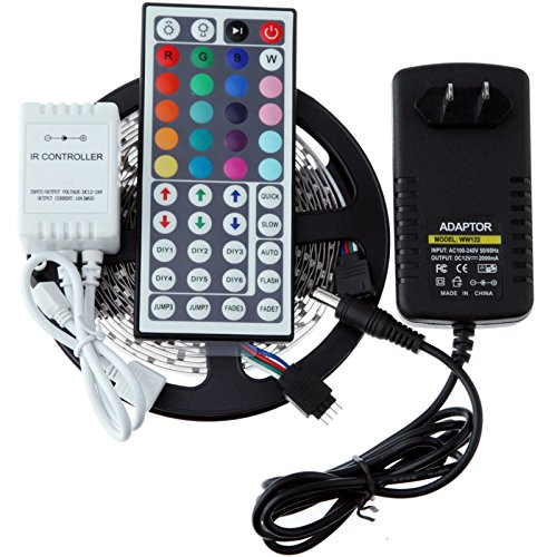 (Ship from US)RONSHIN RGB 5M 16.4Ft 300 LEDs SMD 5050 Non-Waterproof Strip Light + 44 Keys Remote + Power US US00142