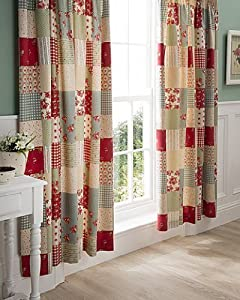 Ballerina Shabby Patchwork Chic Red Cotton 66 X 72 Lined Curtains from PCJ SUPPLIES