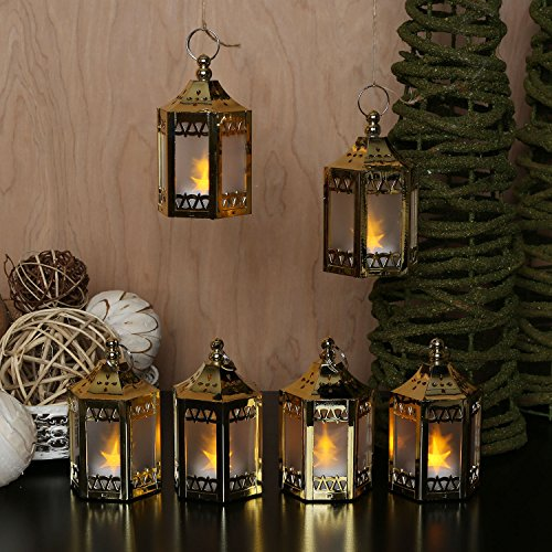 Set of 6 Gold Mini Holographic Star Battery-Operated Plastic Lanterns – Batteries Included