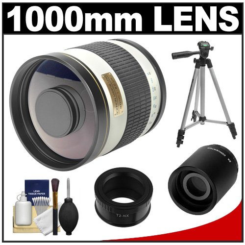 Samyang 500Mm F/6.3 Mirror Lens (White) (T Mount) With 2X Teleconverter (=1000Mm) + Tripod + Accessory Kit For Samsung Nx20, Nx200, Nx210 & Nx1000 Digital Cameras