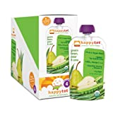 Happy Tot Organic Baby Food,Stage 4 Green Bean, Pear and Pea, 4.22-Ounce Pouches  (Pack of 16) ~ HAPPYBABY