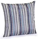 Jovi Home Anzio Hand-Embroidered Decorative Pillow, 16-Inch by 16-Inch, Gray