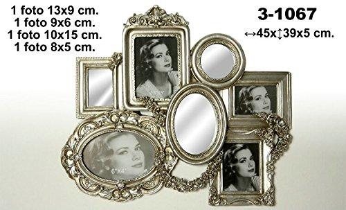 DonRegaloWeb-Cornice per foto-cornice portafoto multiple da parete in resina color argento per 4foto e 3specchi