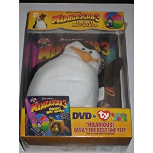Madagascar 3 DVD and Ty Beanie Babie Gift box - Europes Most Wanted