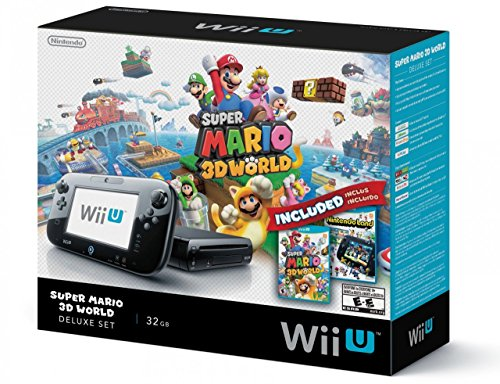 Nintendo Wii U Deluxe Set: Super Mario 3D World and Nintendo Land Bundle - Black 32 GB (Wii U Console 32gb compare prices)