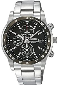Seiko Men's SNDC99 Stainless Steel Analog with Black Dial Watch