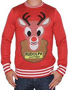 Ugly Christmas Sweater - The Hunted Rudolph Sweater (Red) by Tipsy Elves