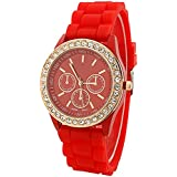Fashion Silicone Golden Crystal Stone Quartz Ladies Jelly Wrist Watch Red