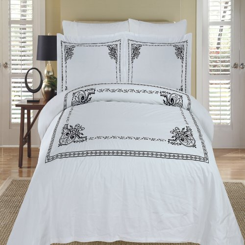 Egyptian Bedding Athena White & Black Embroidered Queen Size Duvet cover Set, 100% EGYPTIAN COTTON