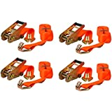 """Keeper 04618 16' x 2"""" Ratchet Tie-Down with J-Hooks, 4 Pack"""