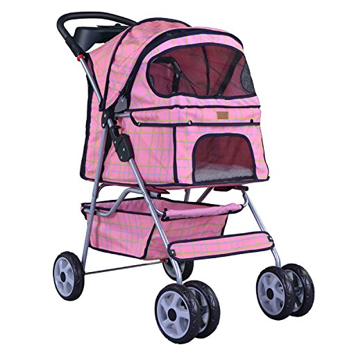Pink Grid 4 Wheels Pet Dog Cat Stroller W/Raincover front-739442