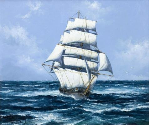 Oil Painting 'a Sailing Ship At Sea' Printing On High Quality Polyster Canvas , 18x21 Inch / 46x54 Cm ,the Best Study Gallery Art And Home Decor And Gifts Is This High Resolution Art Decorative Prints On Canvas