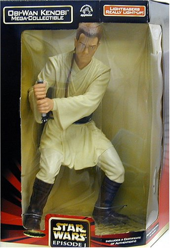 Picture of Applause Star Wars Episode 1 The Phantom Menace Mega Collectible 13 Inch Tall Action Figure - Obi-Wan Kenobi with Lightsaber That Really Light Up Plus Certificate of Authenticity (B00005BVXB) (Star Wars Action Figures)