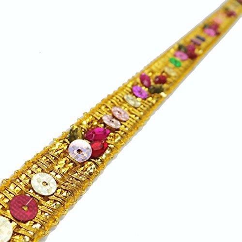 jaune-perles-paillettes-garniture-de-ruban-12-cm-large-bordure-en-dentelle-craft-supply-by-9-yd