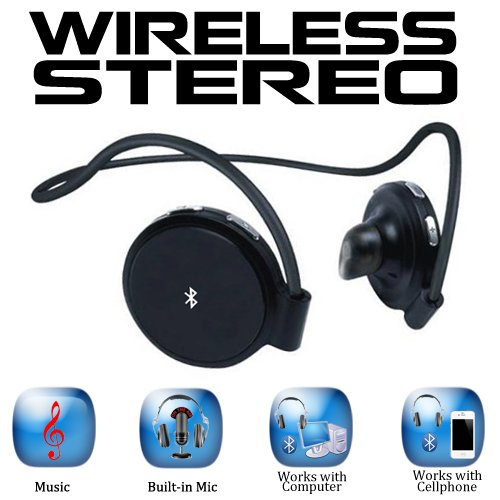 Amica SH4 High Quality Stereo Bluetooth Headphones with built-in Mic for T-Mobile, AT&T, Pantech and Palm Phones also inlcuded with the Package with Travel and Car Charger Amica Electronics Bluetooth Headsets autotags B008S3NJ3Q