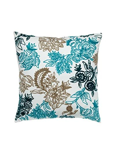 Cloud 9 Embroidered Cotton Throw Pillow, Ivory/Blue
