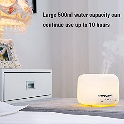 500ml Aroma Essential Oil Diffuser,URPOWER® Ultrasonic Air Humidifier with 4 Timer Settings 7 LED Color Changing Lamps, 10 Hours Continous Mist Mode Running - AUTO shut off for Yoga Bedroom Baby Room