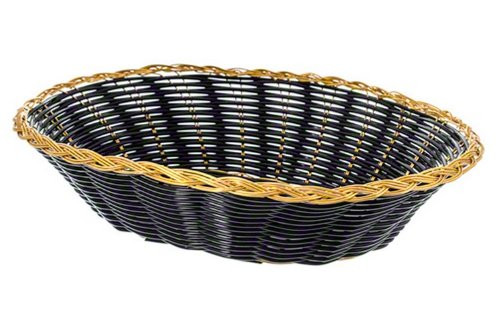 Update International BBV-97 Woven and Bread Black Vinyl Cord Basket with Gold Anodized Trim, Oval, 6-1/2-Inch