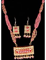 Exotic India Pink Beaded Necklace And Earrings Set With Dangling Pendant - Lacquer With Cut Glass