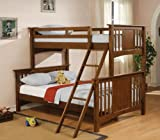 Twin Full Size Bunk Bed in Dark Cherry Finish