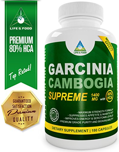 Pure Grade [★] 80% Hca Garcinia Cambogia Extract Supreme - 180 Count - 1400 Mg Serving, Max Absorption All Natural Supplement For Weight Loss, Improves Serotonin Levels | Zero Fillers, Binders And Artificial Ingredients (1 Bottle)