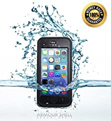 buy #1 Best Waterproof Iphone 5C Case With Clear Back (Black), Protective & Shockproof Phone Cases, Free Bonus Apple Cell Charging Cable Included, Premium Protection By Armour Shell Or Your Money Back!