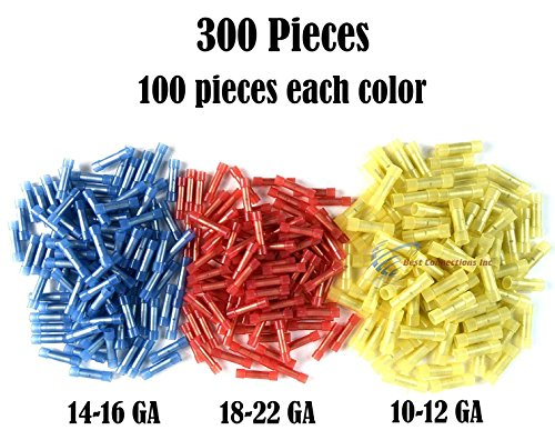 300 RED BLUE YELLOW NYLON BUTT CONNECTTOR 22-18 16-14 12-10 AWG GA INSULATED