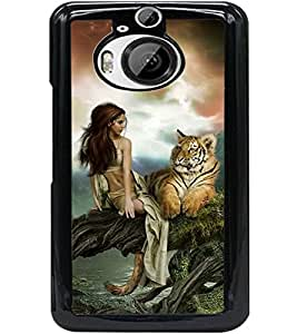 ColourCraft Girl with Tiger Design Back Case Cover for HTC ONE M9 PLUS
