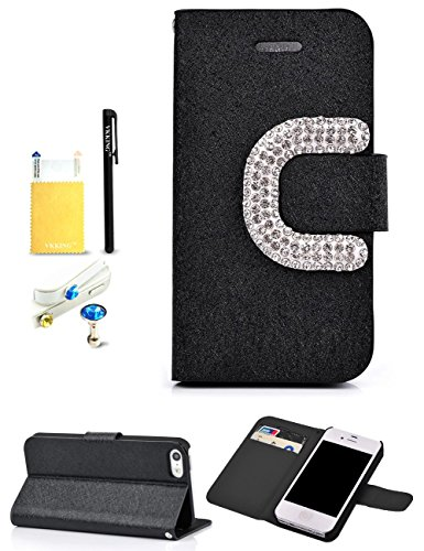 VKKING(TM) New Style Big C Buckle Silk-like Surface Design PU Wallet Leather Case For Apple iPhone 5C,With Credit Cards Slots,Anti Dust Plug(Color Random),Screen Protector,Stylus and Cleaning Cloth,Black