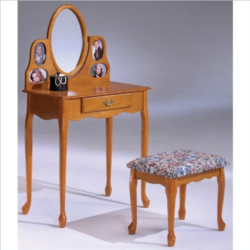 Oak Picture Frame Vanity And Bench front-1076256