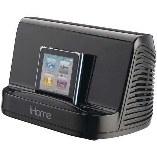 Ihome Portable Stereo Speaker System For Ipad, Ipod And Mp3 Player, Features A 3.5 Mm Line-In, And Rubberized Non-Skid Surface, Black Finish