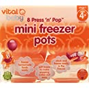 Vital Baby Press 'n' Pop Mini Freezer Pots, Orange, 1 Ounce, 8 Pack