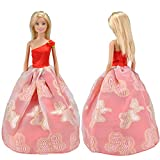 E-TING Lot 5 Fashion Gorgeous Princess Clothes Dresses Grows Outfit for Barbie Doll XMAS Gift