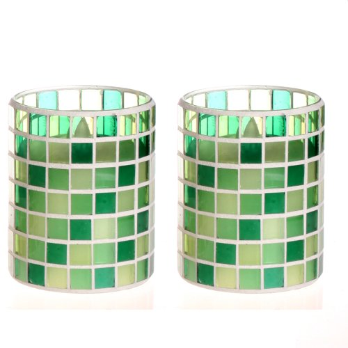 Dfl 3*4 Inch Grid Spring Green Color Mosaic Glass With Flameless Led Candle With Timer,Work With 2 Aa Battery,Pack Of 2