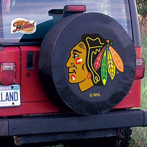 Chicago Blackhawks NHL Tire Cover Black Size: Y - 32.25 x 12 Inch (Blackhawks Spare Tire Cover compare prices)