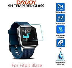 DAYJOY Premium 9H Hardness Tempered Glass Screen Protector film Cover for Fitbit Blaze[2-Pack]