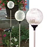 "Solar Wholesale Crackle Glass Globe Solar Lawn Light, 3.5"" Dia (3 Pack)"