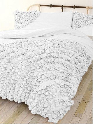 400 Tc 3 Pc Corner Ruffle Duvet Set In Twin Solid White By Jay'S Home Goods front-1029553