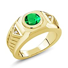 buy 1.68 Ct Round Green Simulated Emerald 18K Yellow Gold Plated Silver Men'S Ring